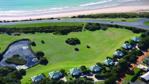 An airview of the Apollo Bay Cottages