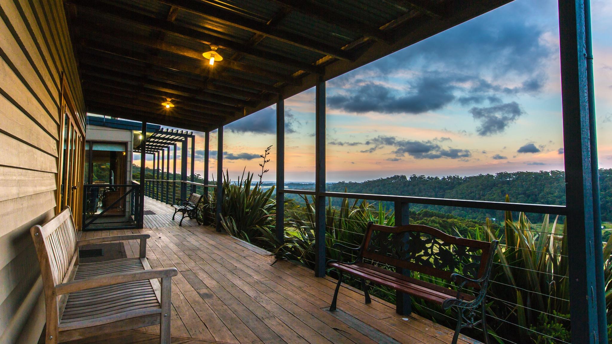 Lodge verandah at dusk