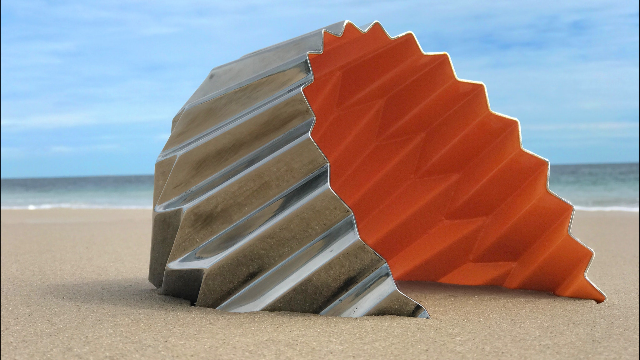 Stainless Steel sculpture created by Karl Meyer sits on the Lorne foreshore.