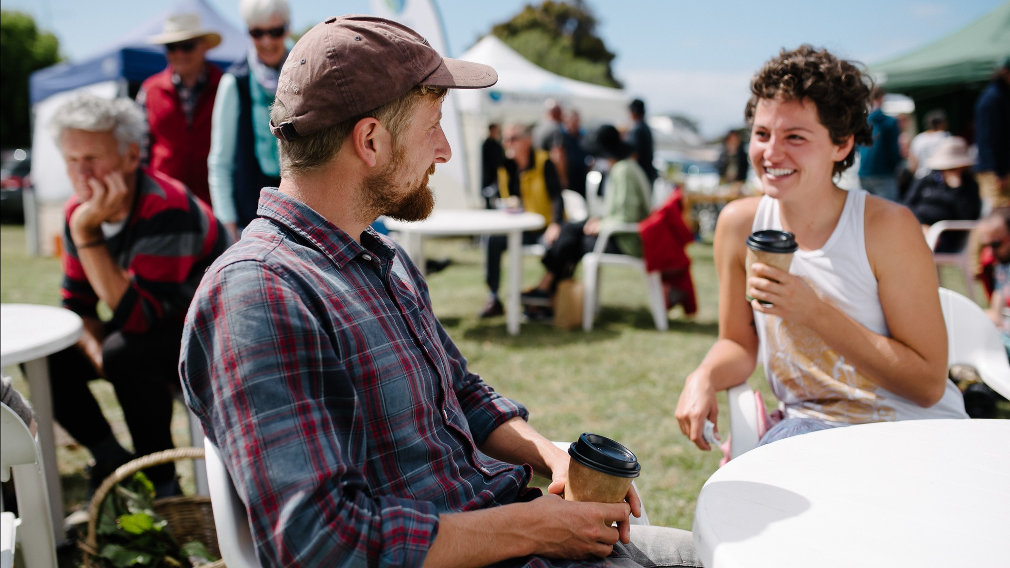 Patrons relaxing at the Apollo Bay Farmers Market