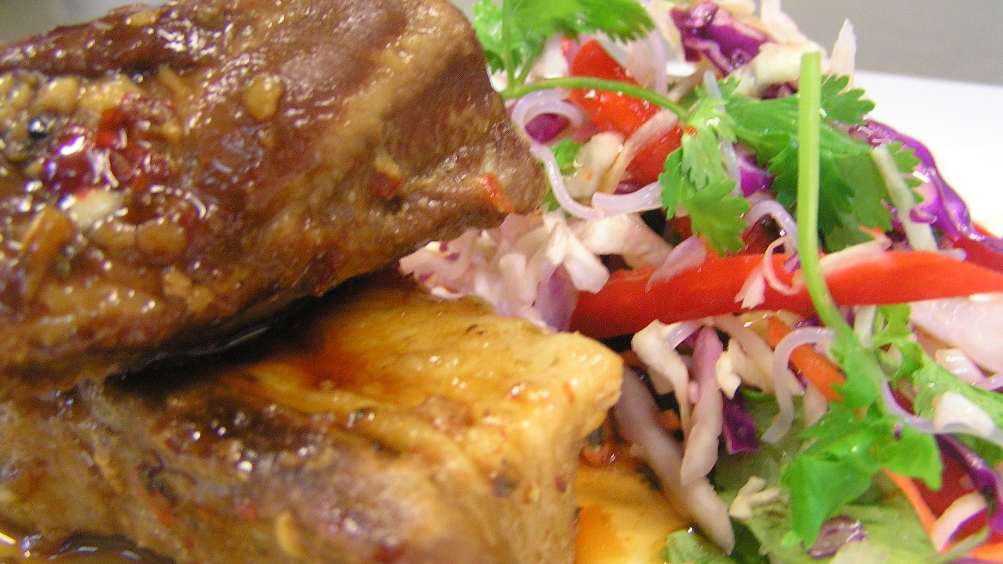 Pork belly with asian slaw