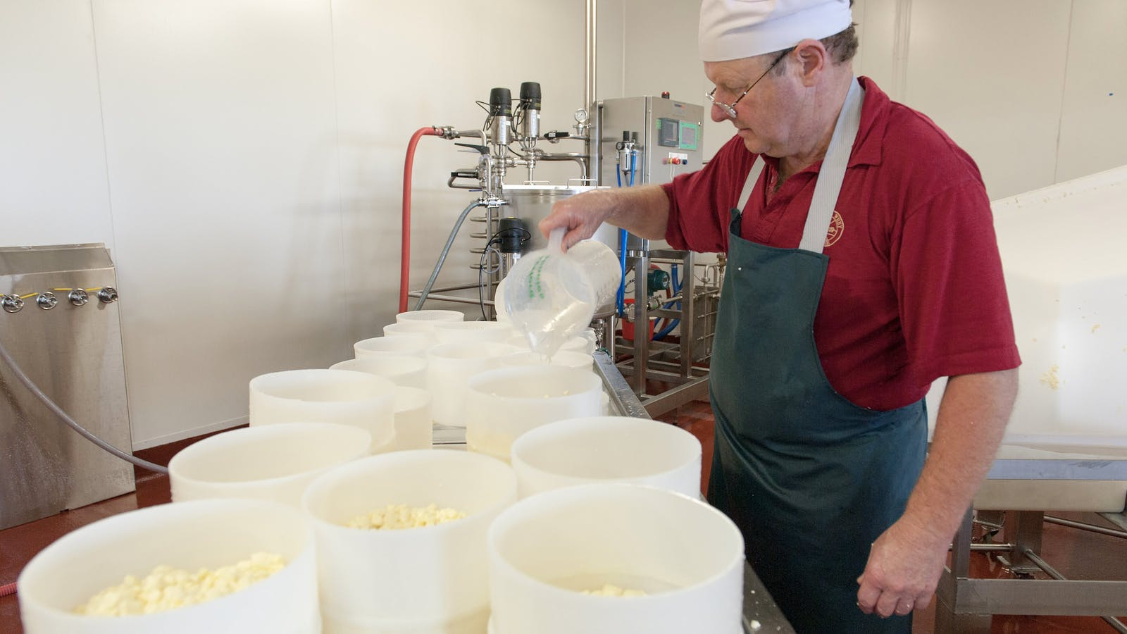 Julian Benson making Apostle Whey Cheese
