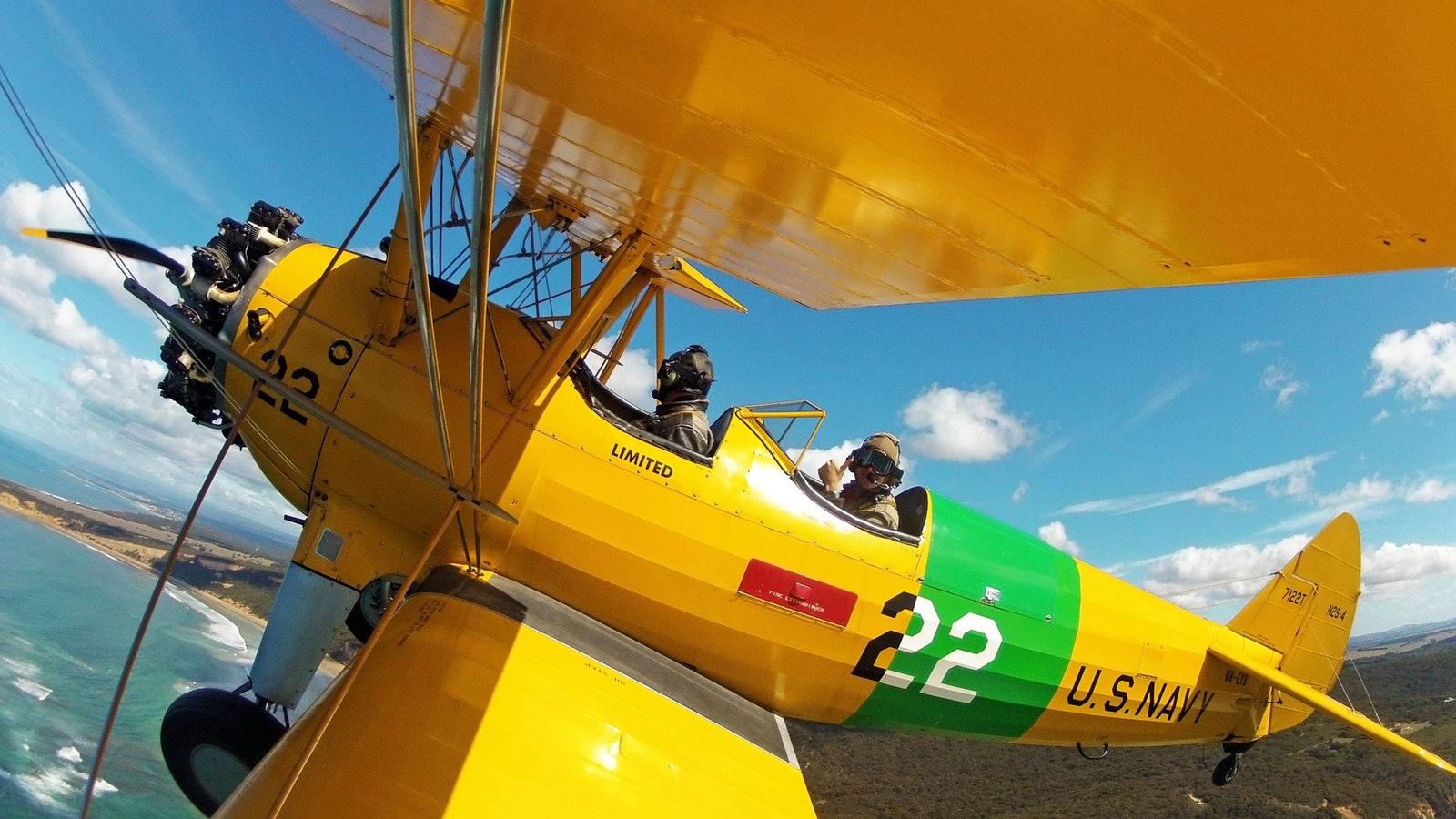 Flying in a WW2 open cockpit biplane