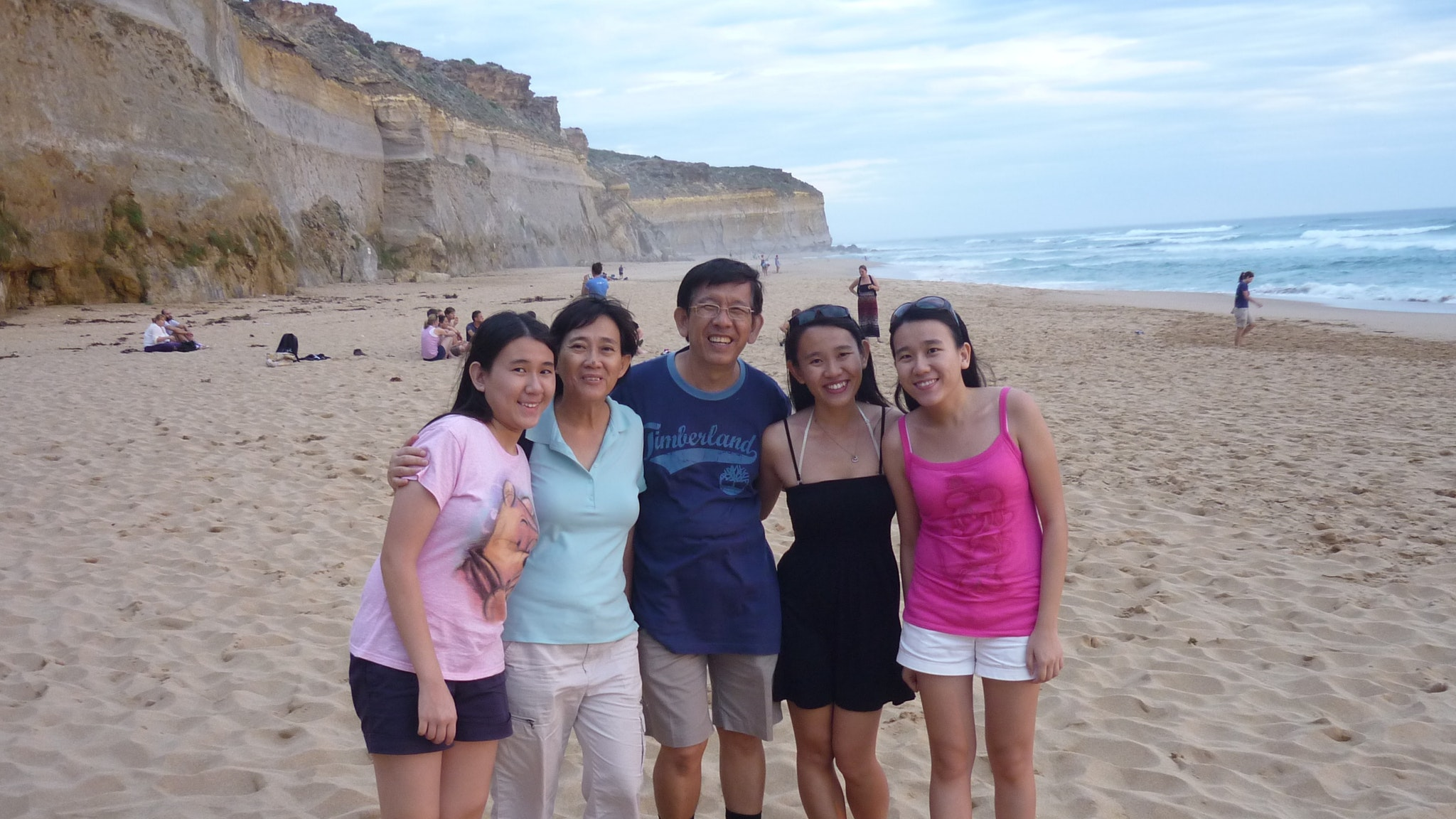 At Gibsons Steps Beach with Singaporean visitors