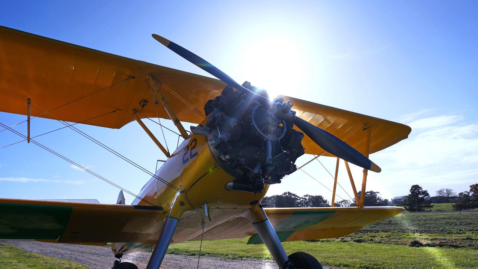 Tiger Moth World vintage biplane ready for takeoff