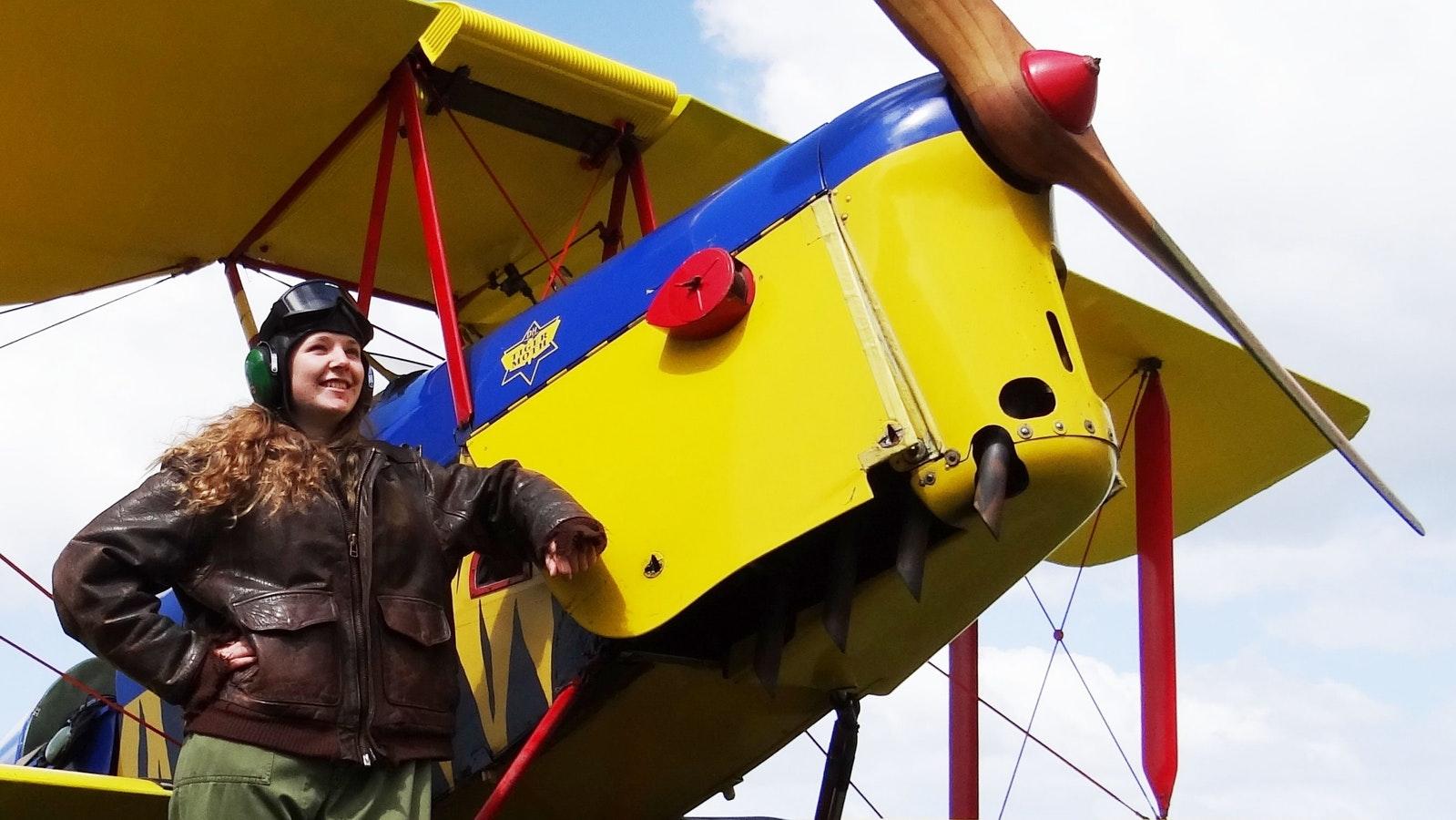 Tiger Moth World passenger ready for flight