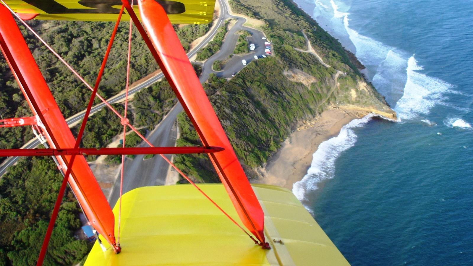 Tiger Moth World flight over Torquay coast