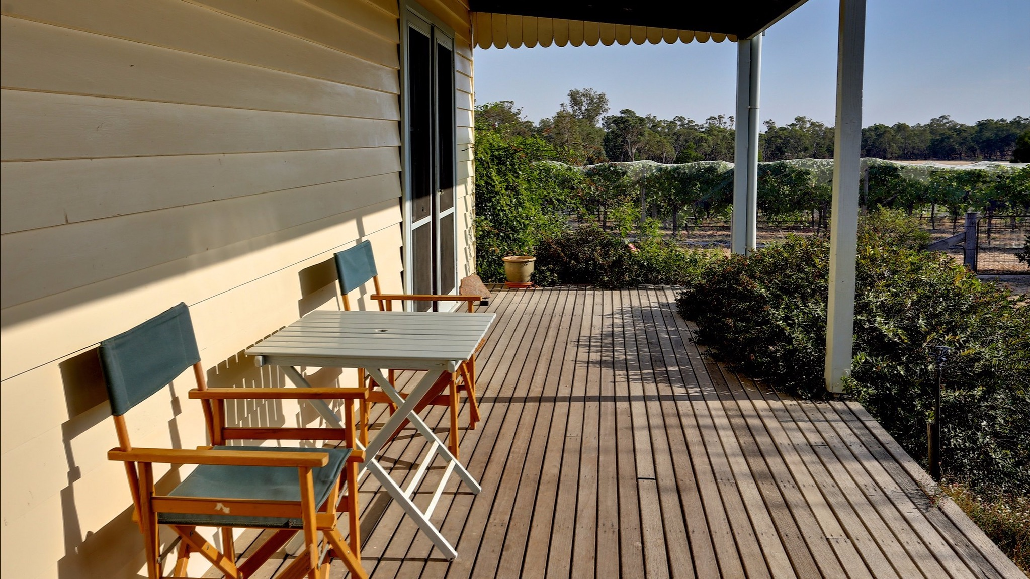 Cottage Patio with view across vineyard