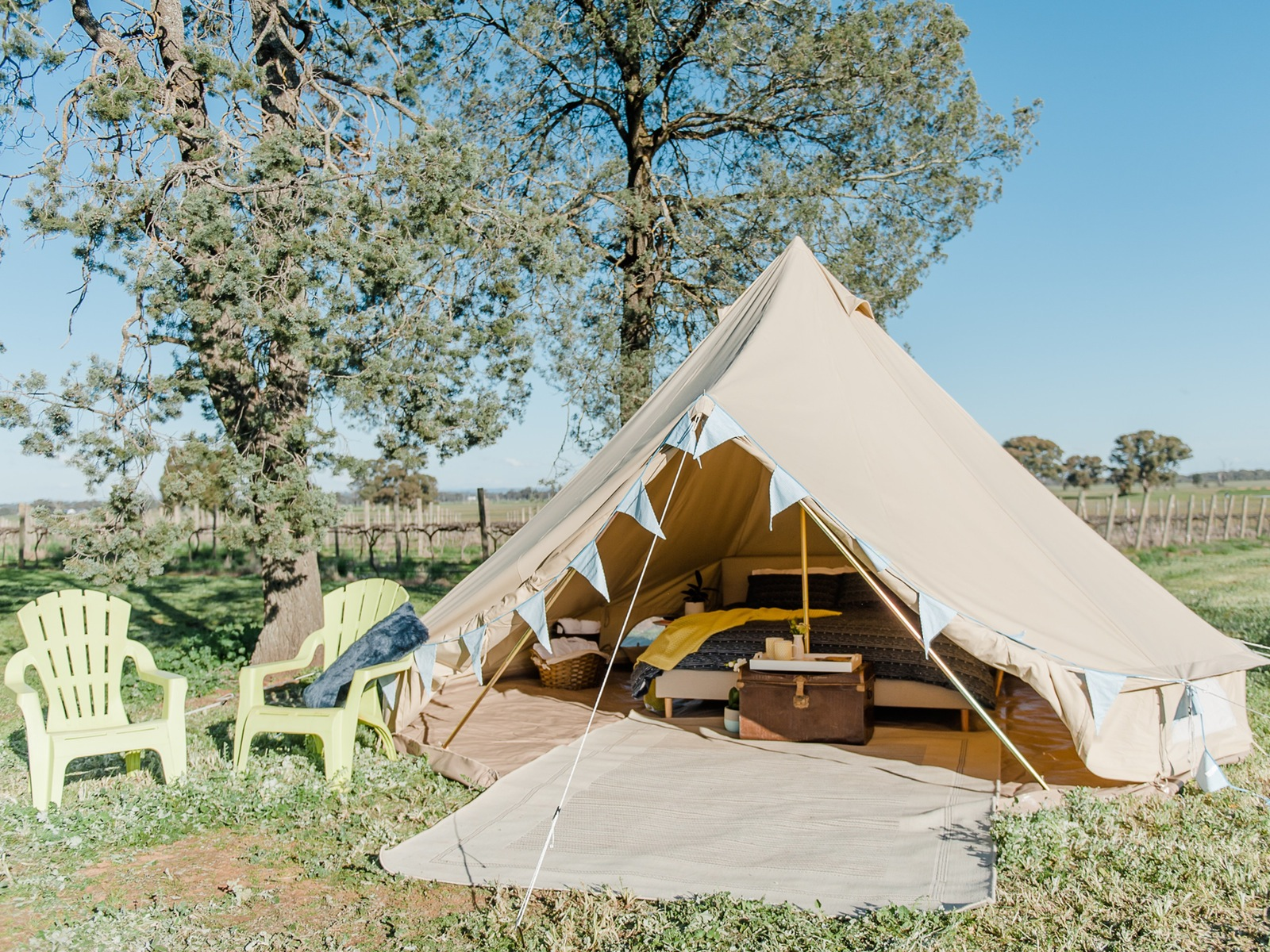 Bell Tent overlooking the vineyard