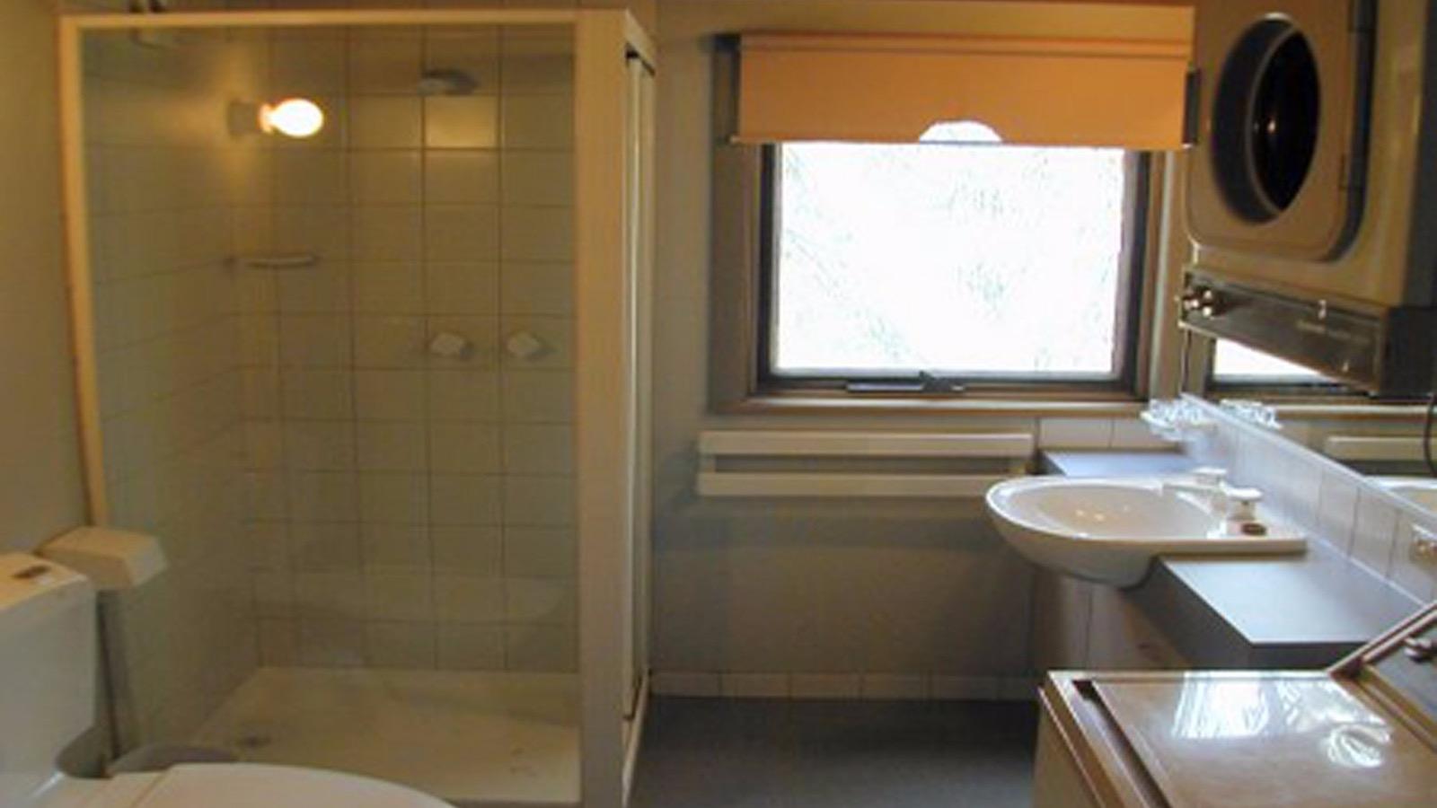 Shower, basin, washer & dryer