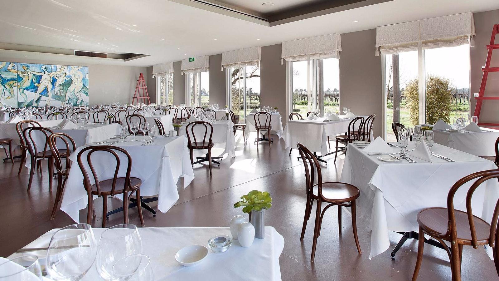 The Restaurant Merlot dining room, at Lindenwarrah