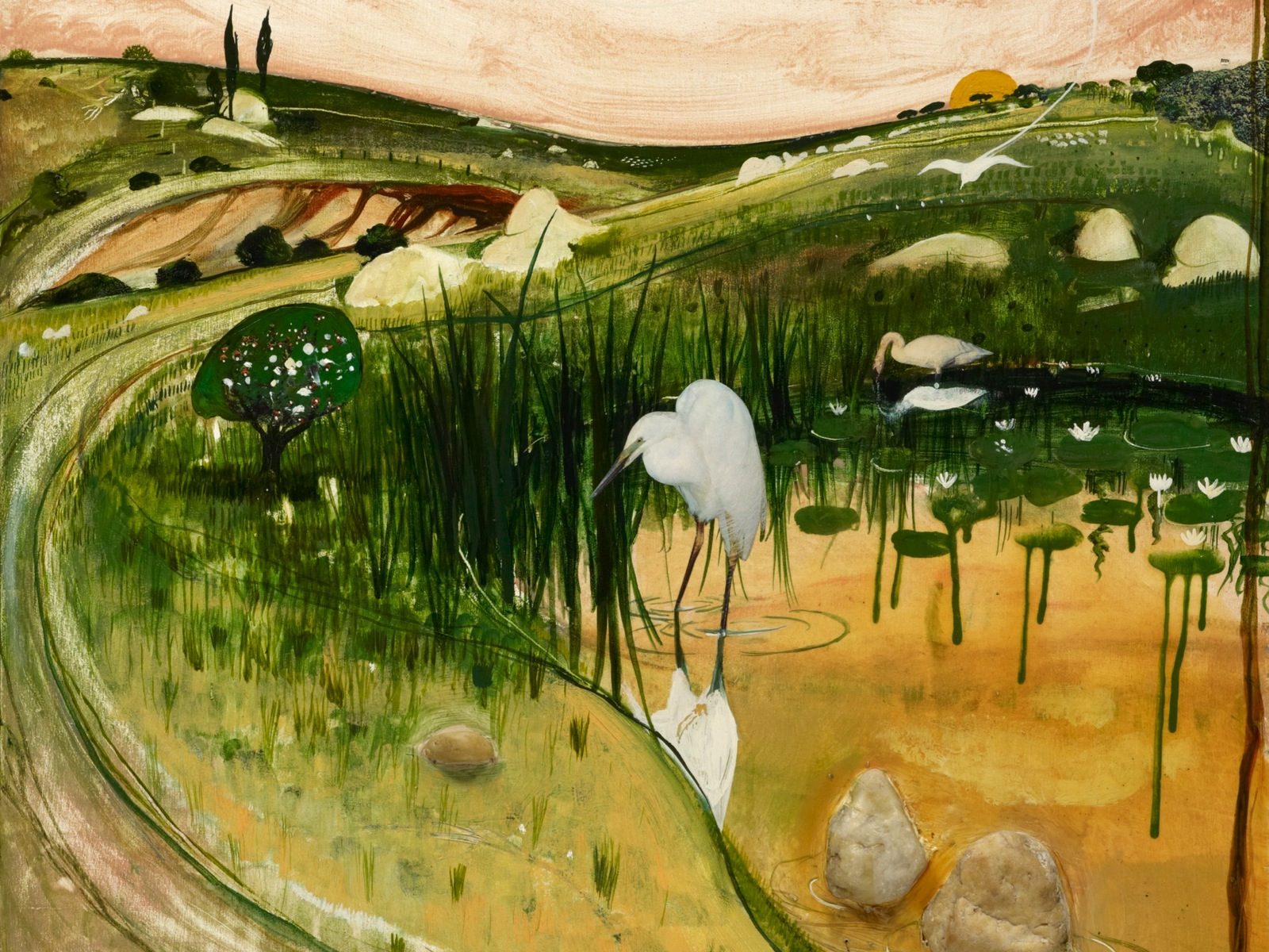 Detail: Brett Whiteley, Marulan bird with rocks, circa 1980, oil, gouache, collage, rocks on plywood
