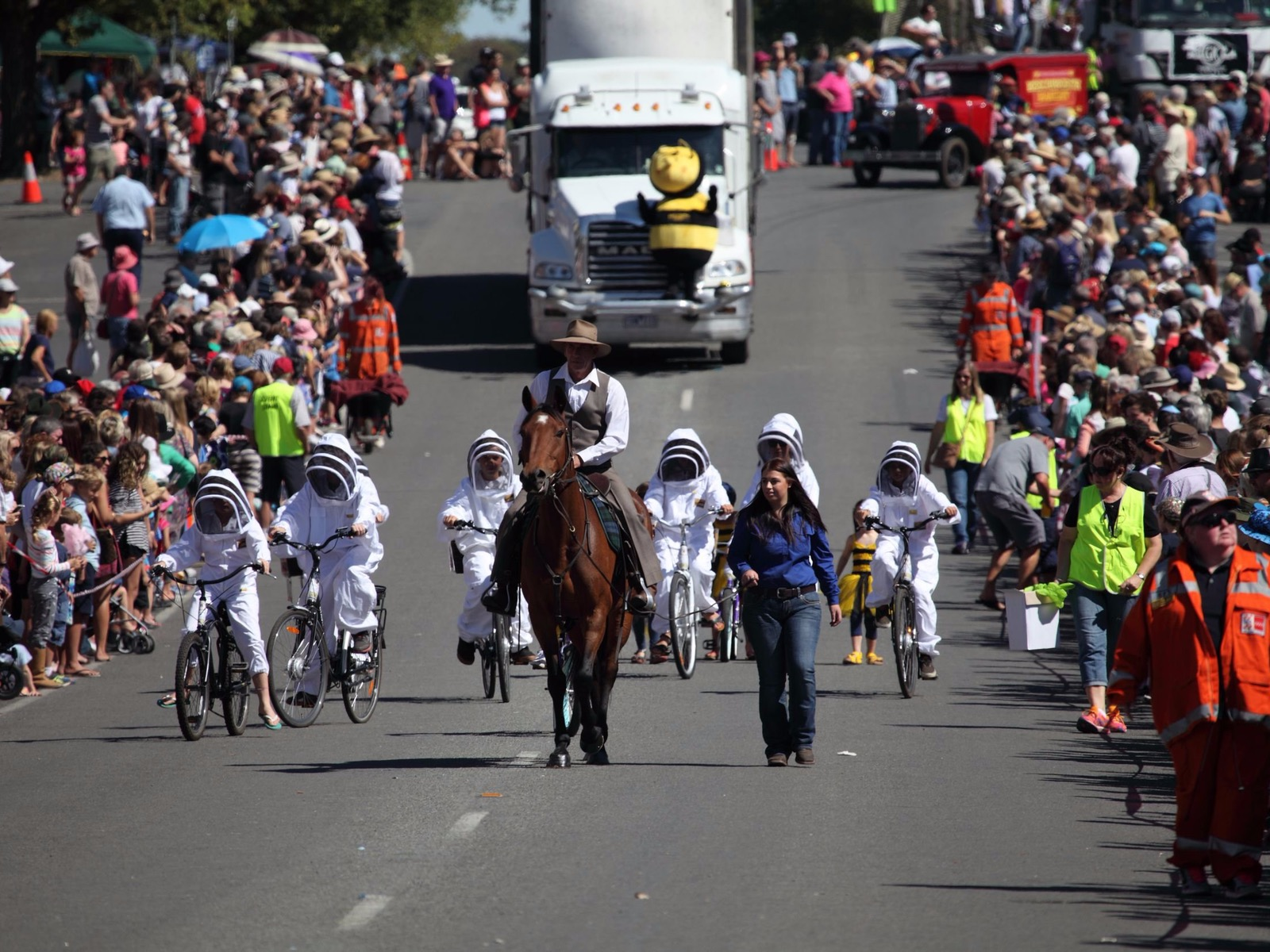 Horse and rider leading the parade in the main street of Beechworth