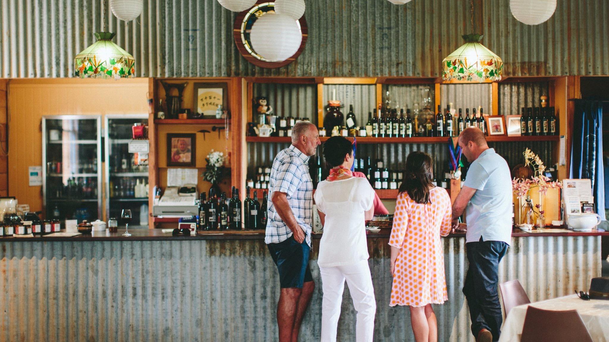 Customers tasting at Wicked Virgin Olives