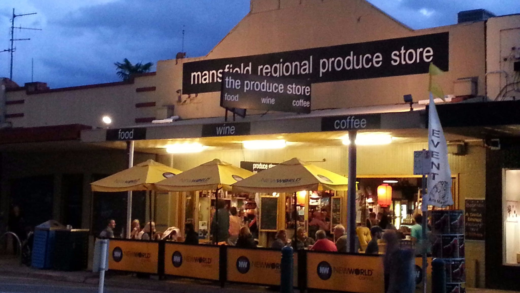 The Produce Store at night