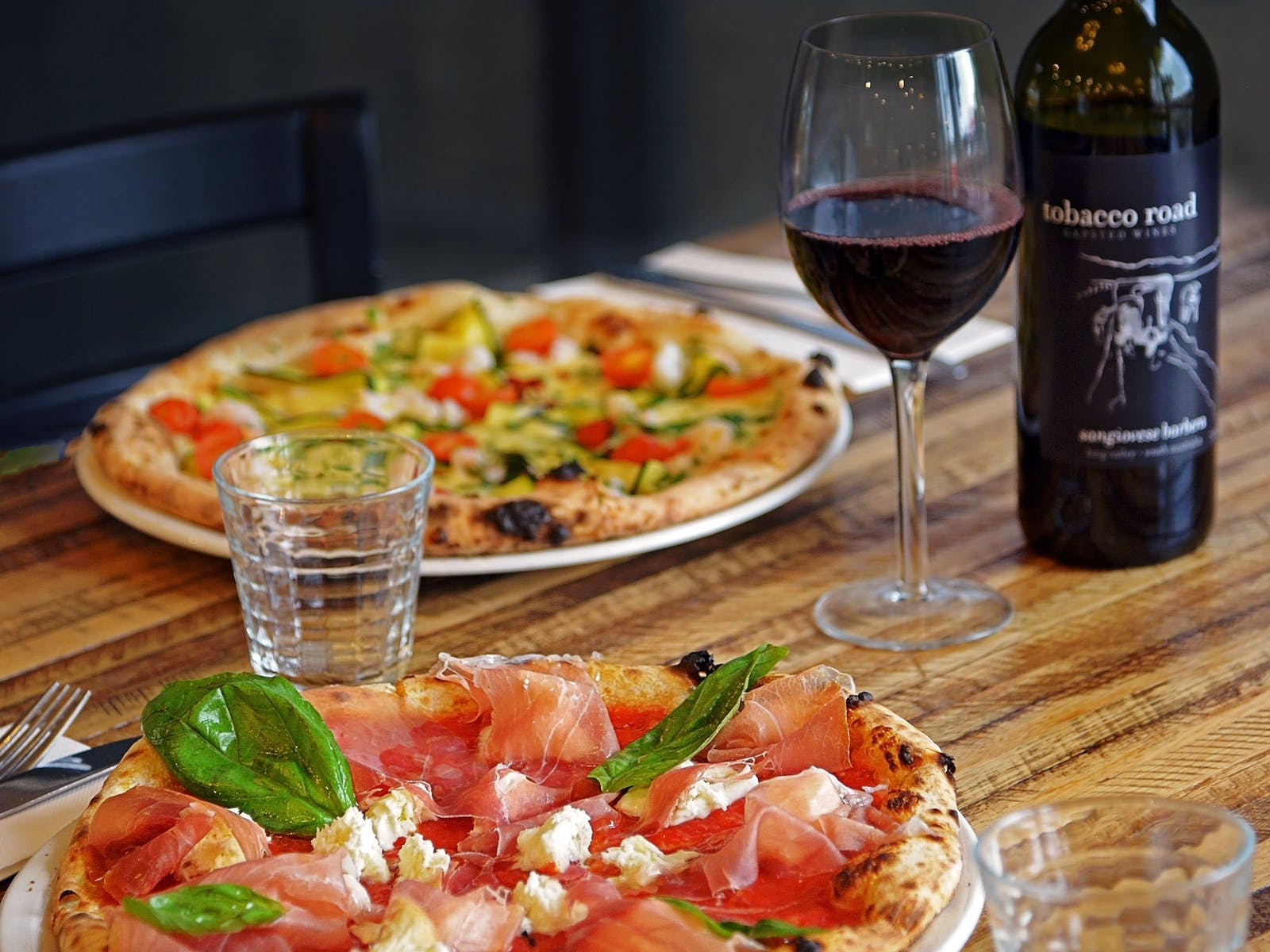 Prosciutto Pizza, Gamberi Pizza & Local Wine