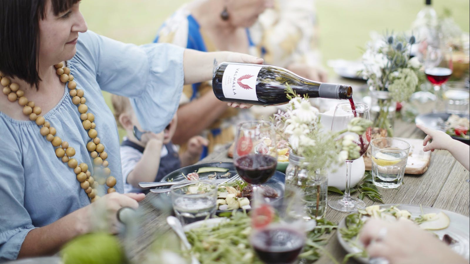 Lady poring Valhalla Wine