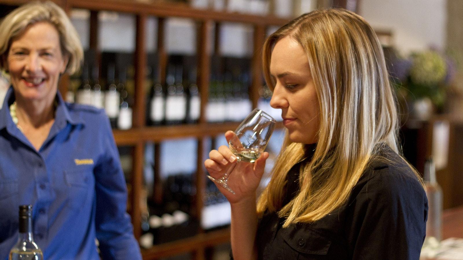 Tasting wines at Cellar Door