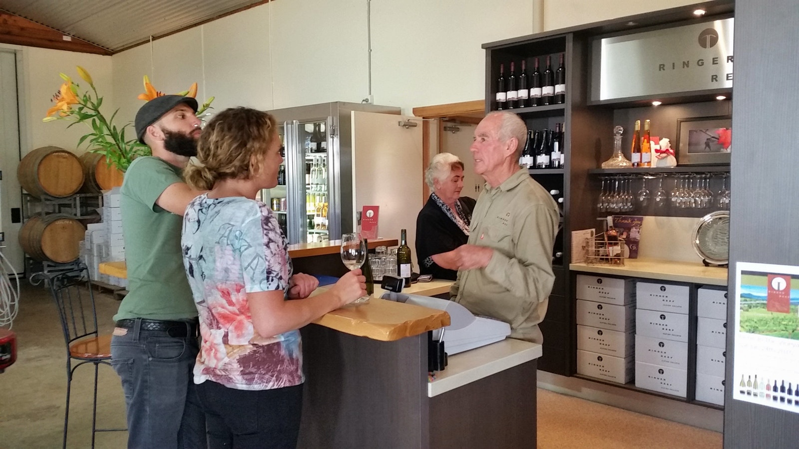 Winemaker talking wines at Ringer Reef Winery