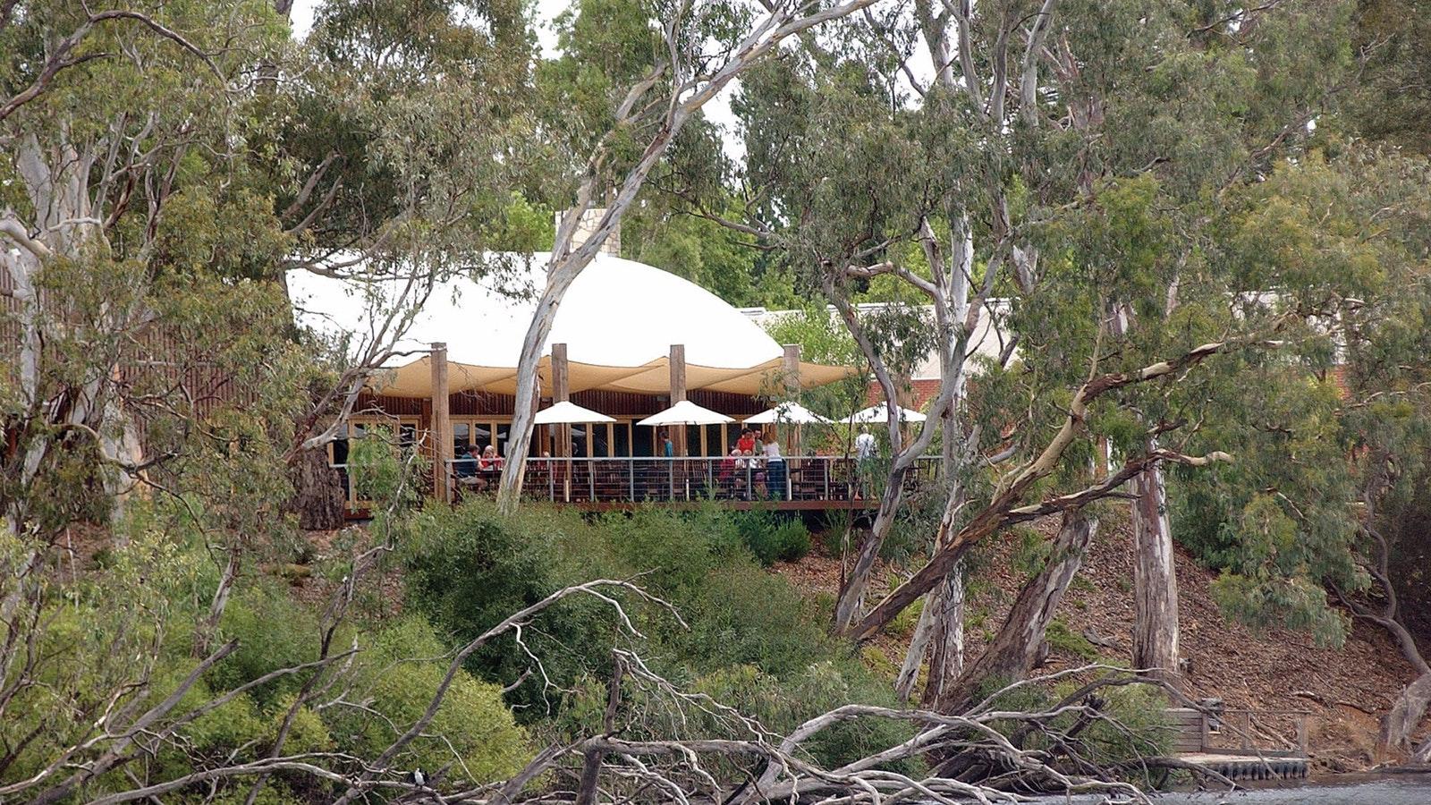 View of Tahbilk Cafe from Tahbilk Wetlands walk