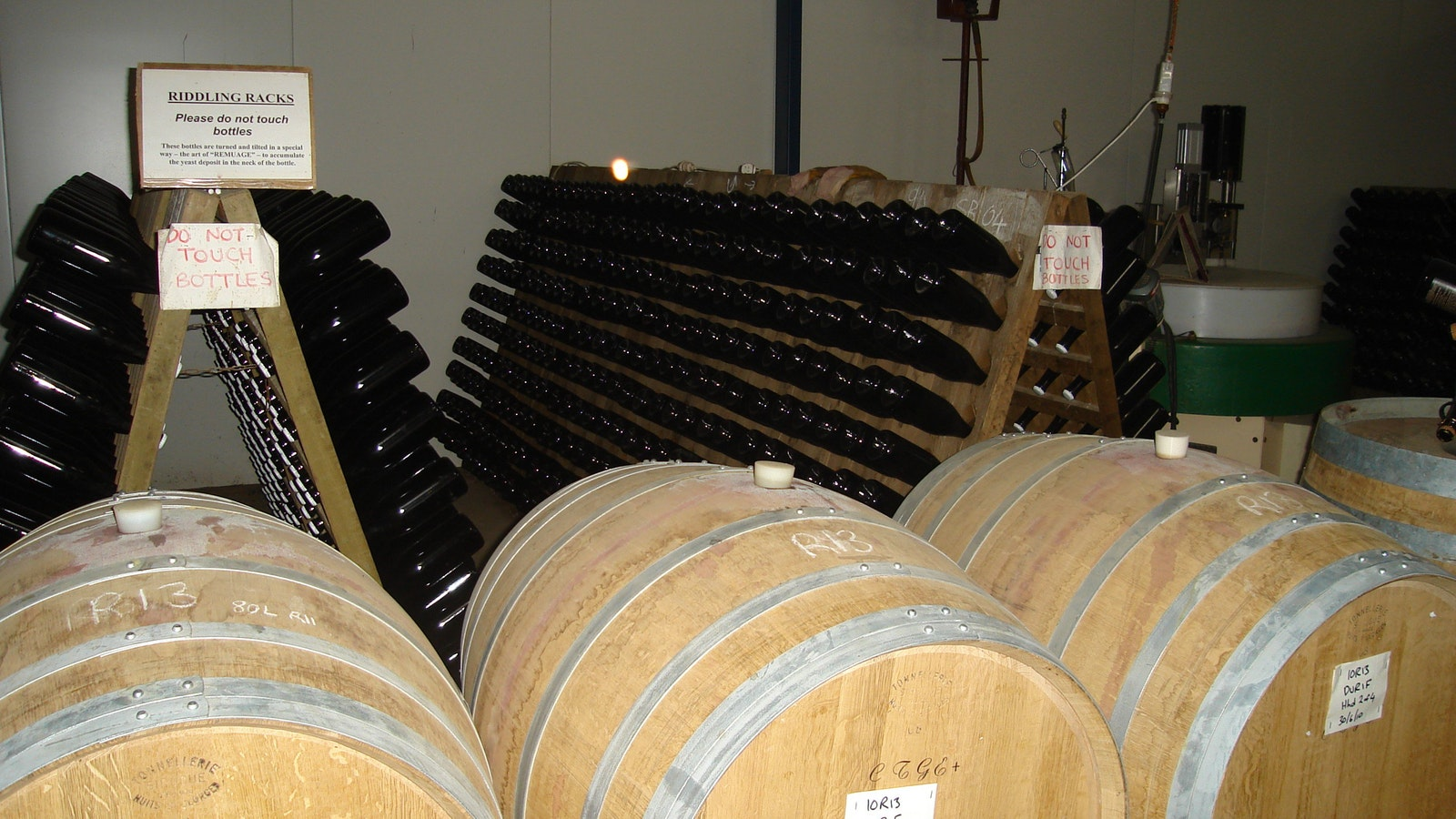 bottles and barrels in Anderson Cellar door