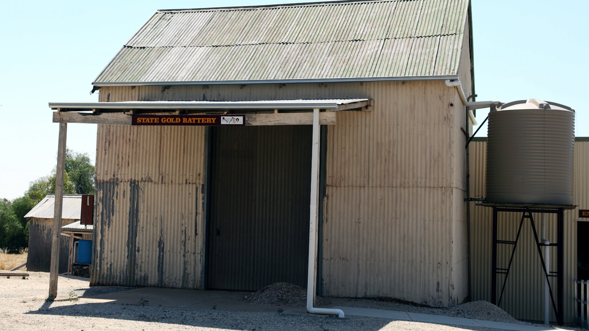 Front entrance of the Rutherglen historic gold battery