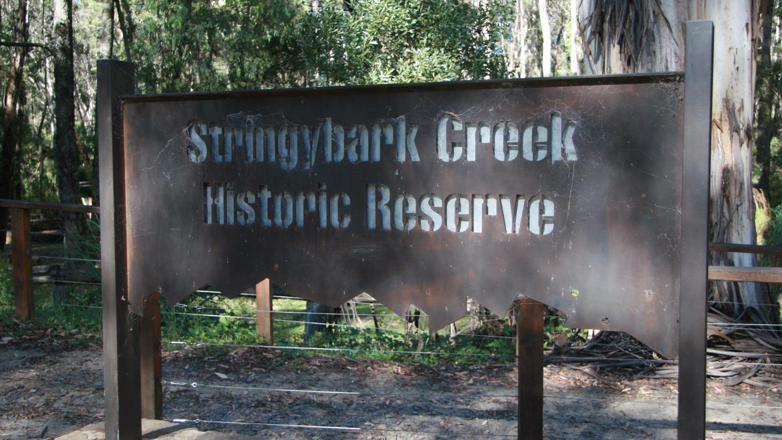 Stringybark Creek sign