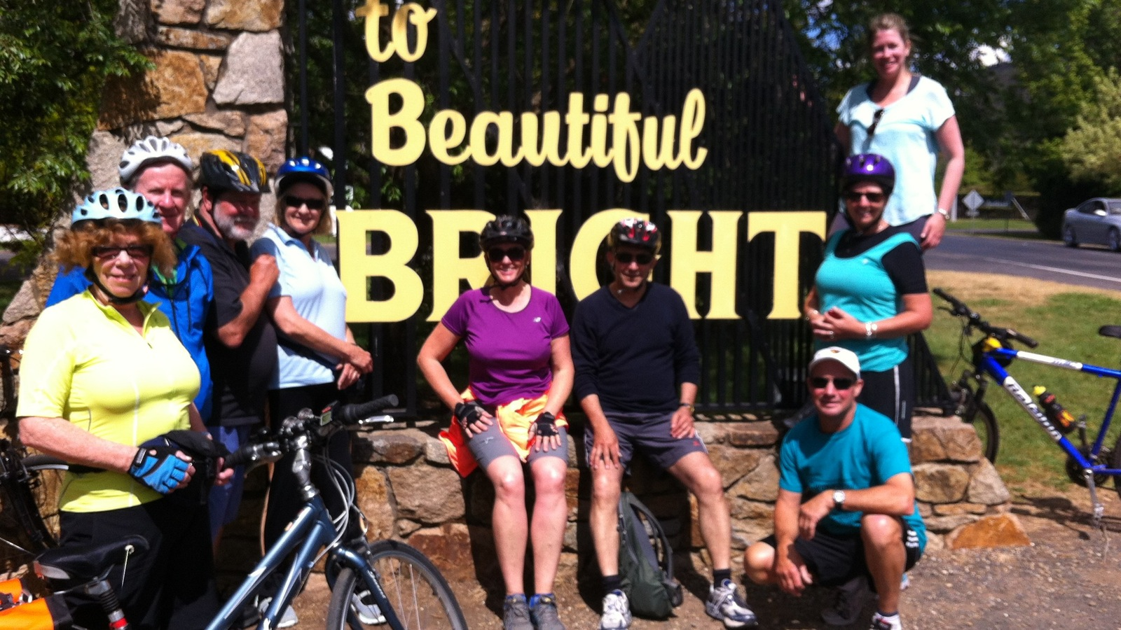 Arriving in Bright on a group tour on the Murray to Mountains Rail Trail