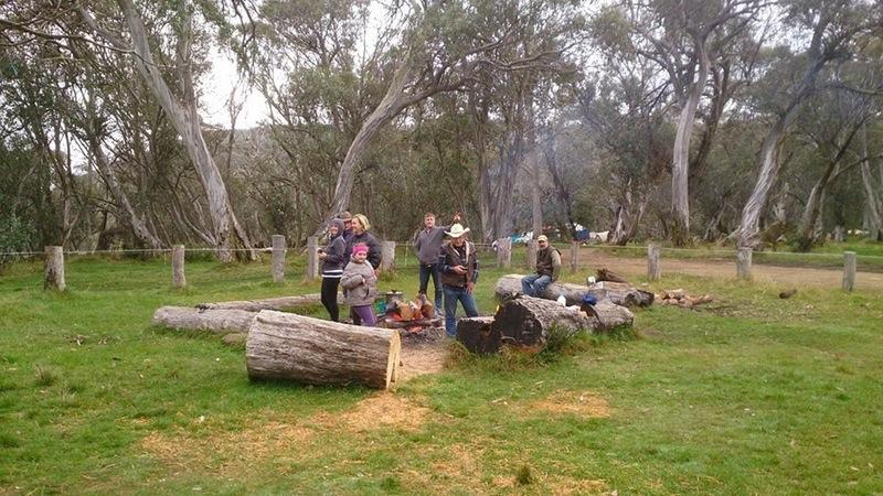 around the campfire at Lovick's Hut
