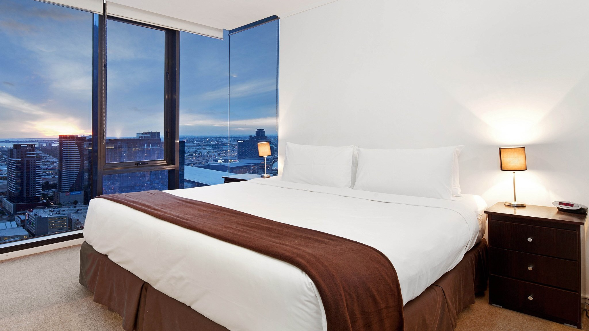 Master Bedroom with views over Yarra River and Melbourne City