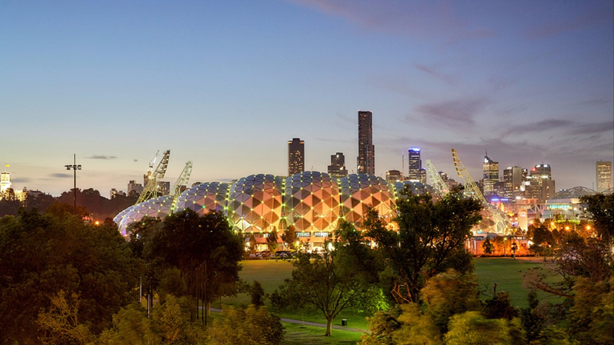 Take in the evening view of Melbourne