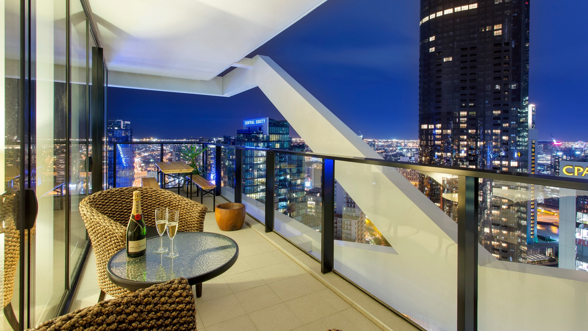 Melbourne Skyline from the 36th floor Wrap Building, City Road Southbank - Penthouse 3 Bedroom +