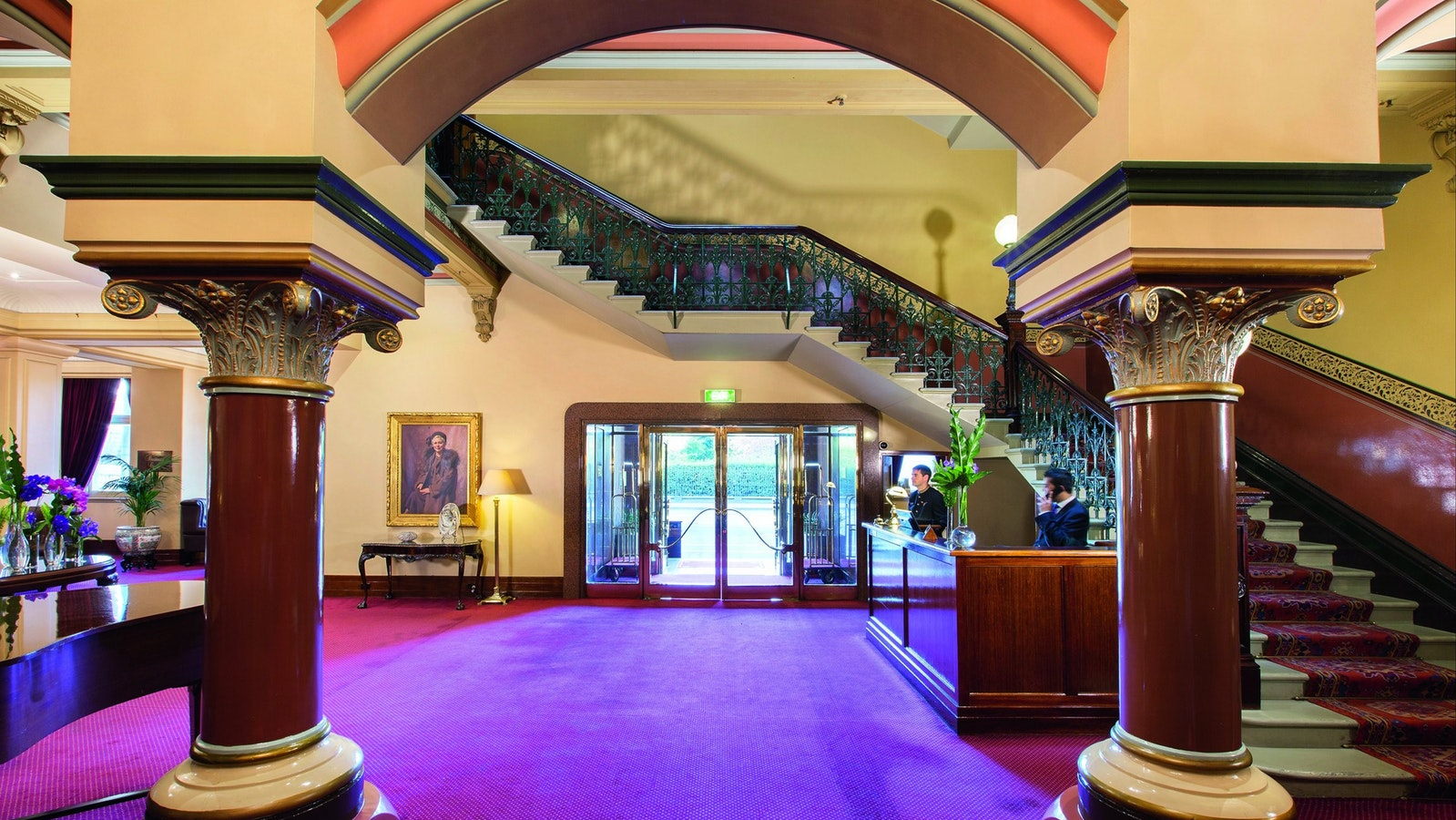 The Hotel Windsor Concierge Desk and Grand Staircase