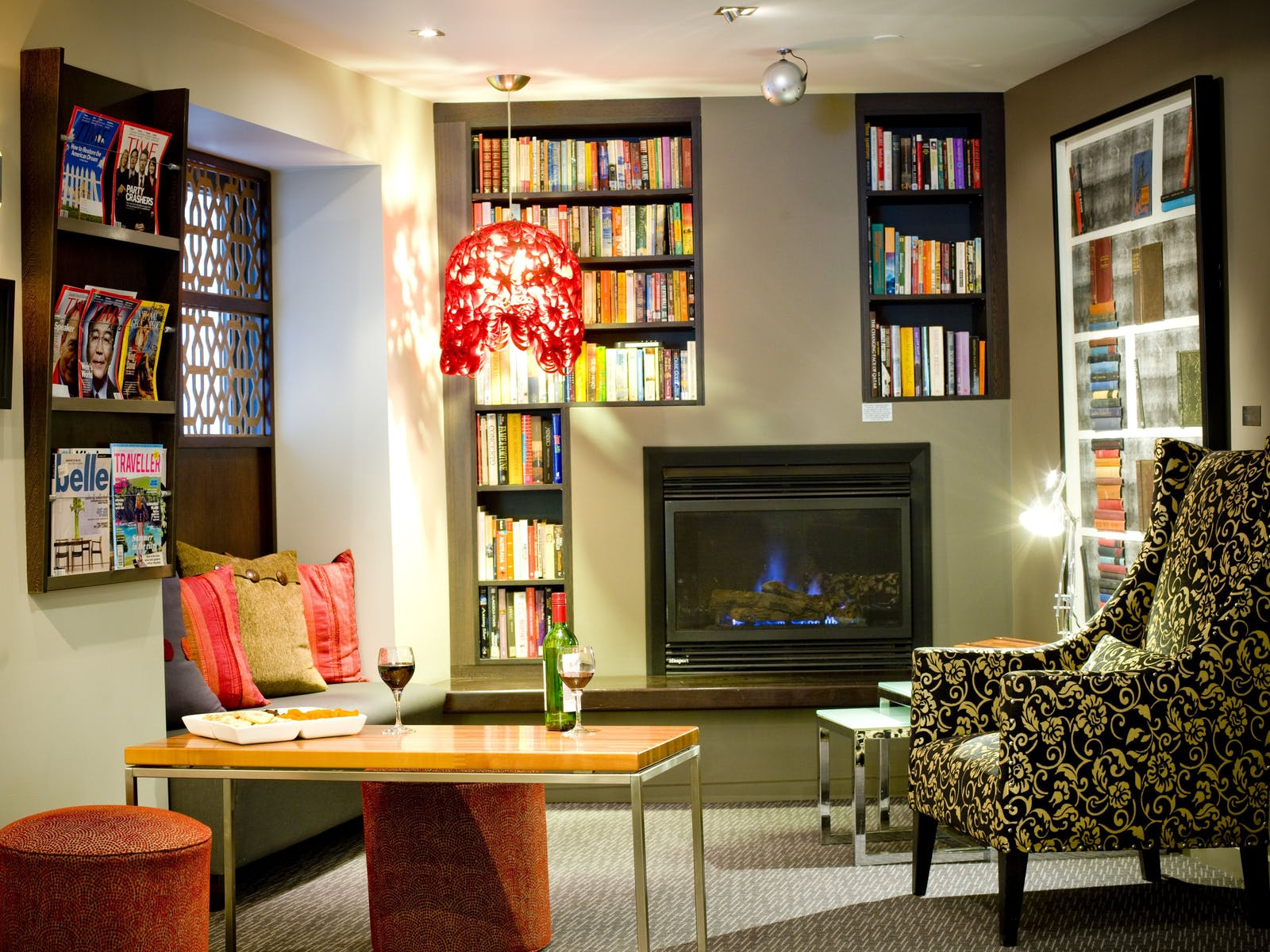Reading lounge and fireplace