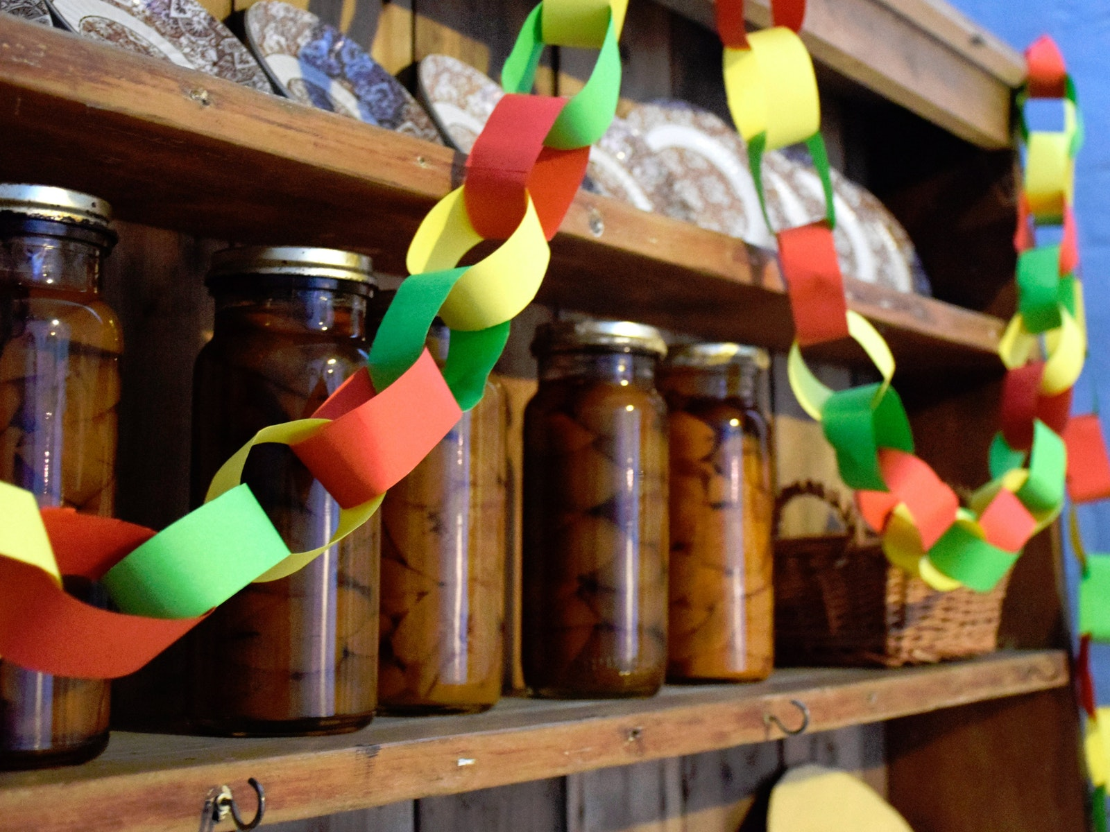Christmas paper chains with preserves at the Old Treasury Building