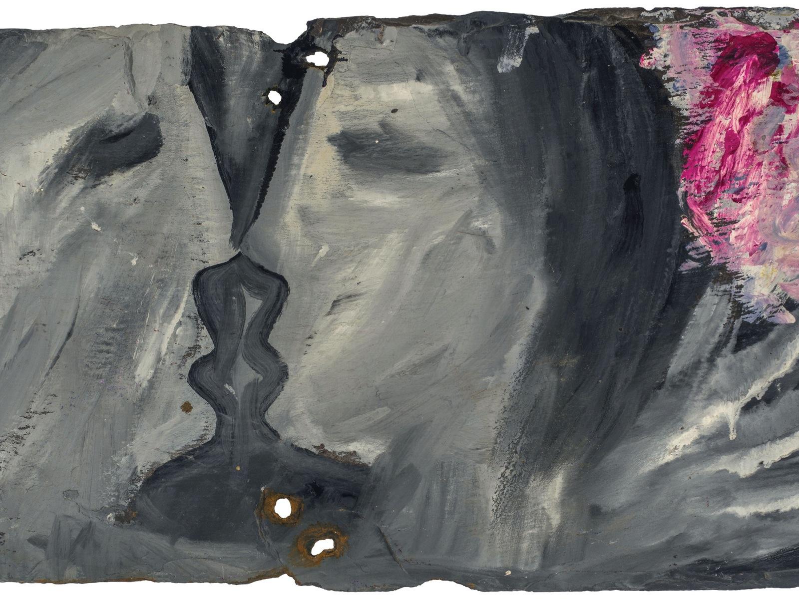 oil, enamel and ink on slate, 25.5 x 50.8 cm