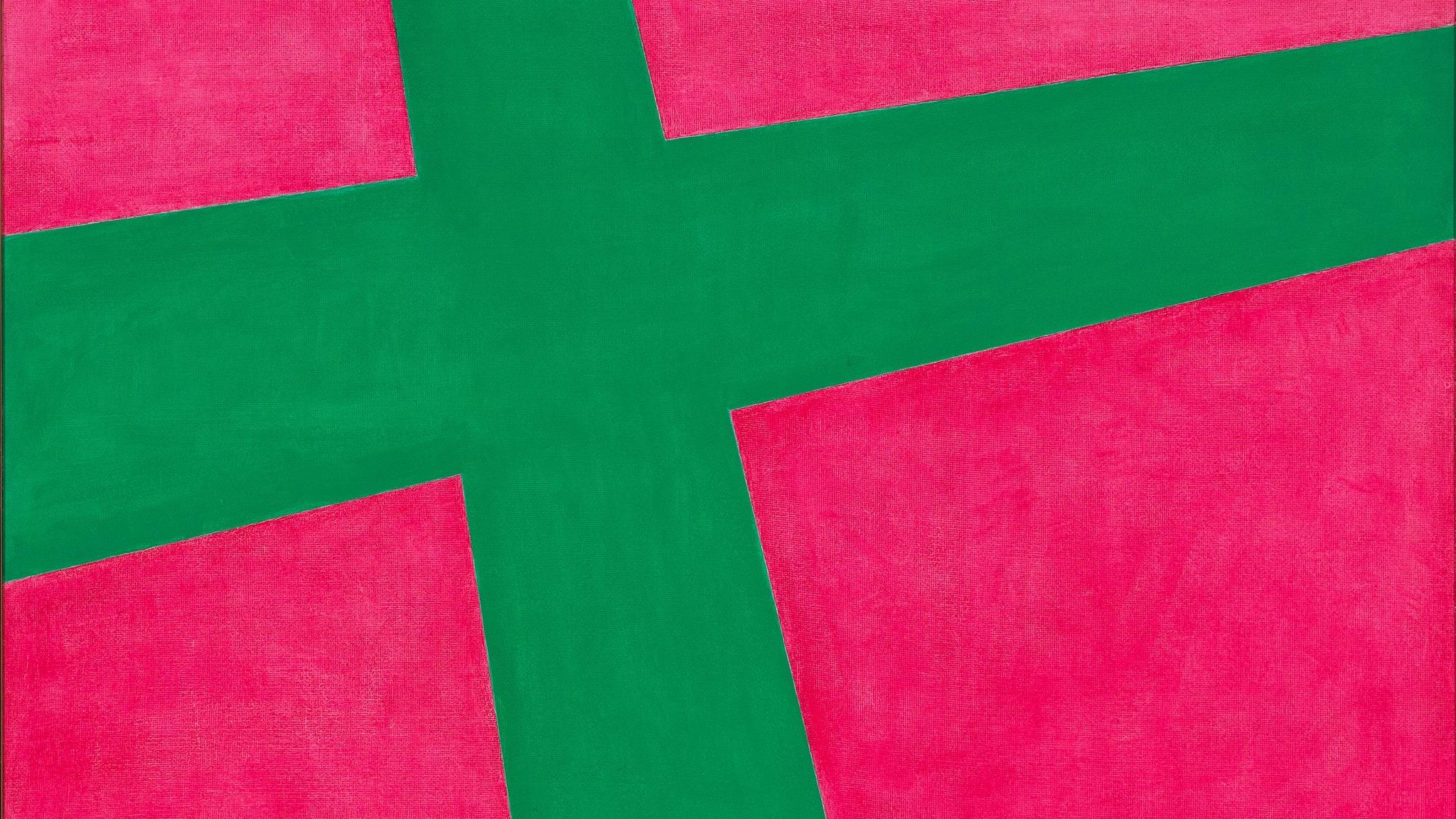 Gunter Christmann, Red/Green Cross 1966, oil on composition board 122 x 122 cm