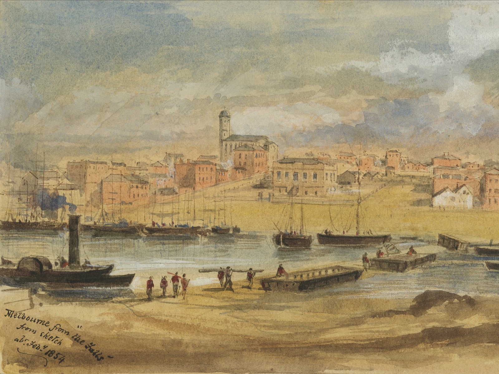 Image from 1854 showing the falls of Melbourne looking toward Williams street Customs House