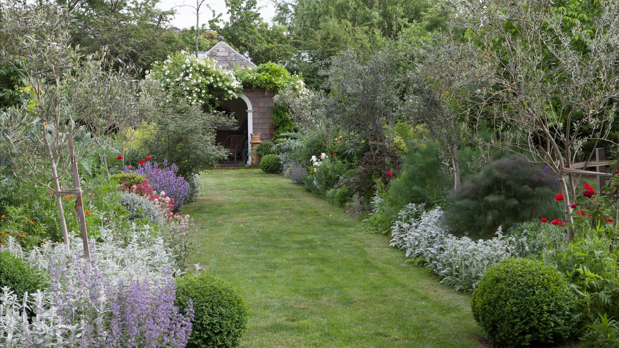 """alt=""""a wide lawn path between two borders of trees and shrubs"""""""