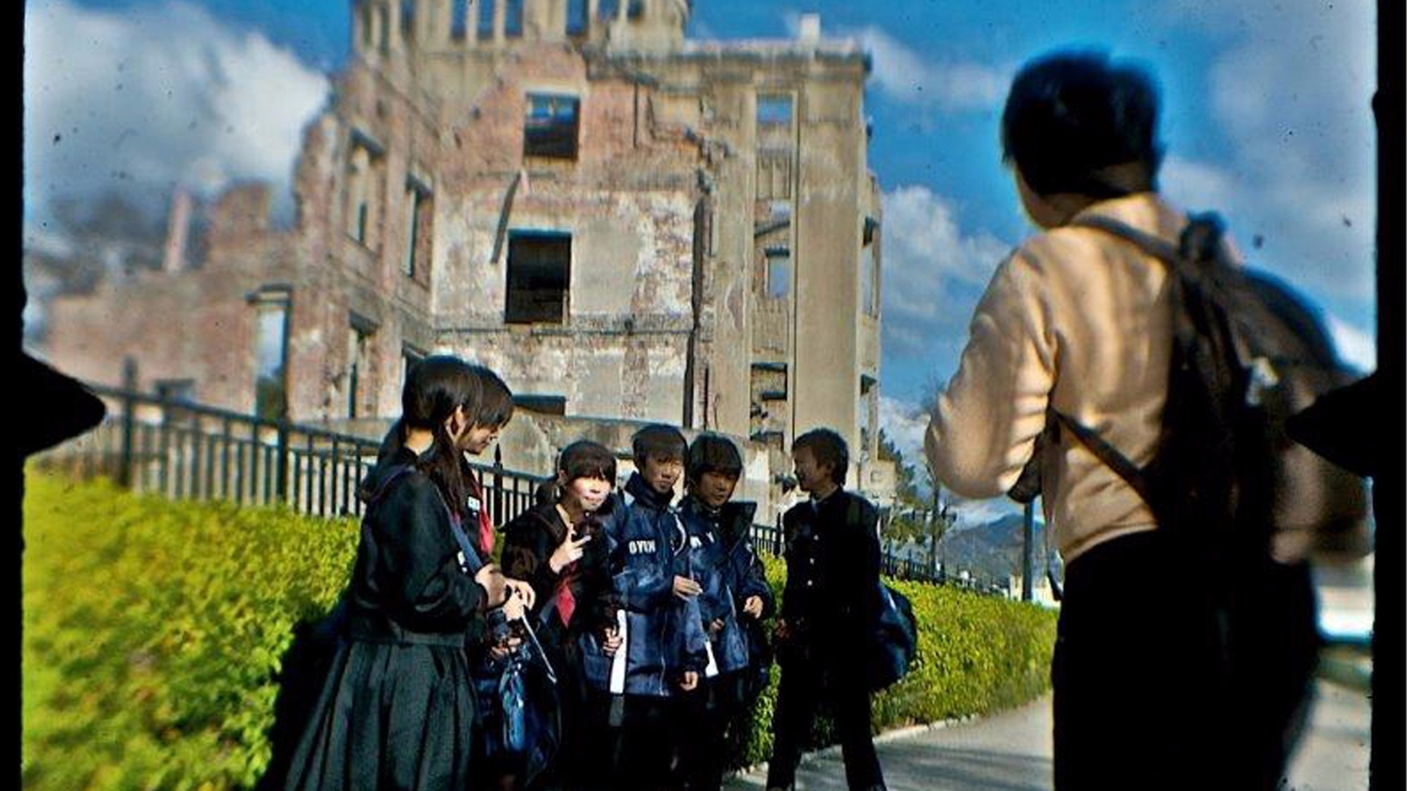 School children outside Hiroshima memorial