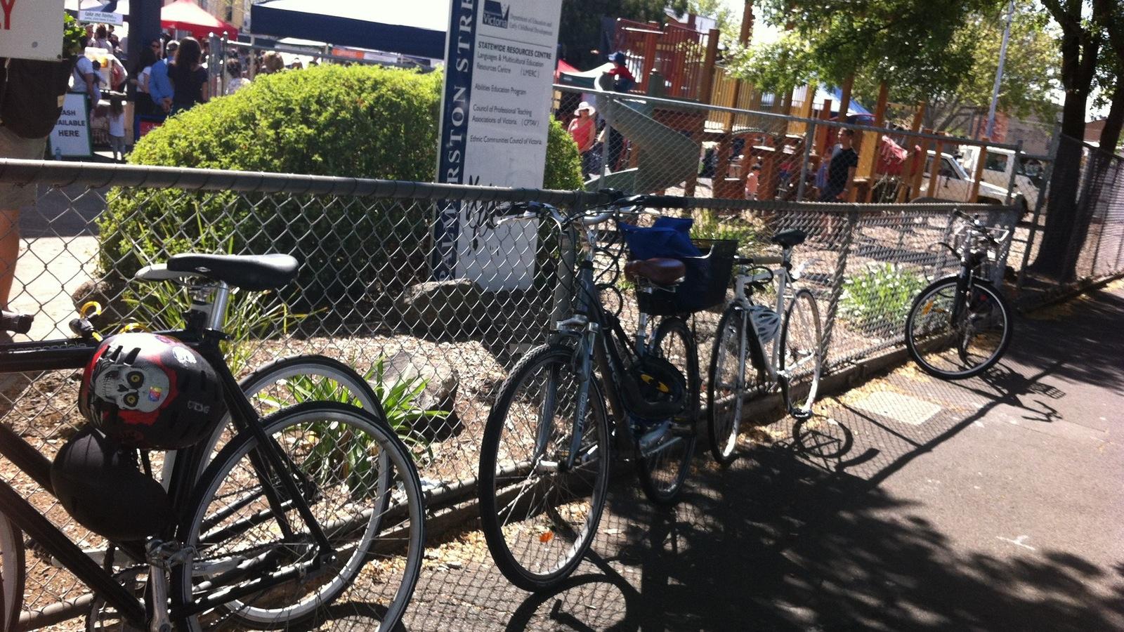 Bike parking at Carlton Farmers' Market