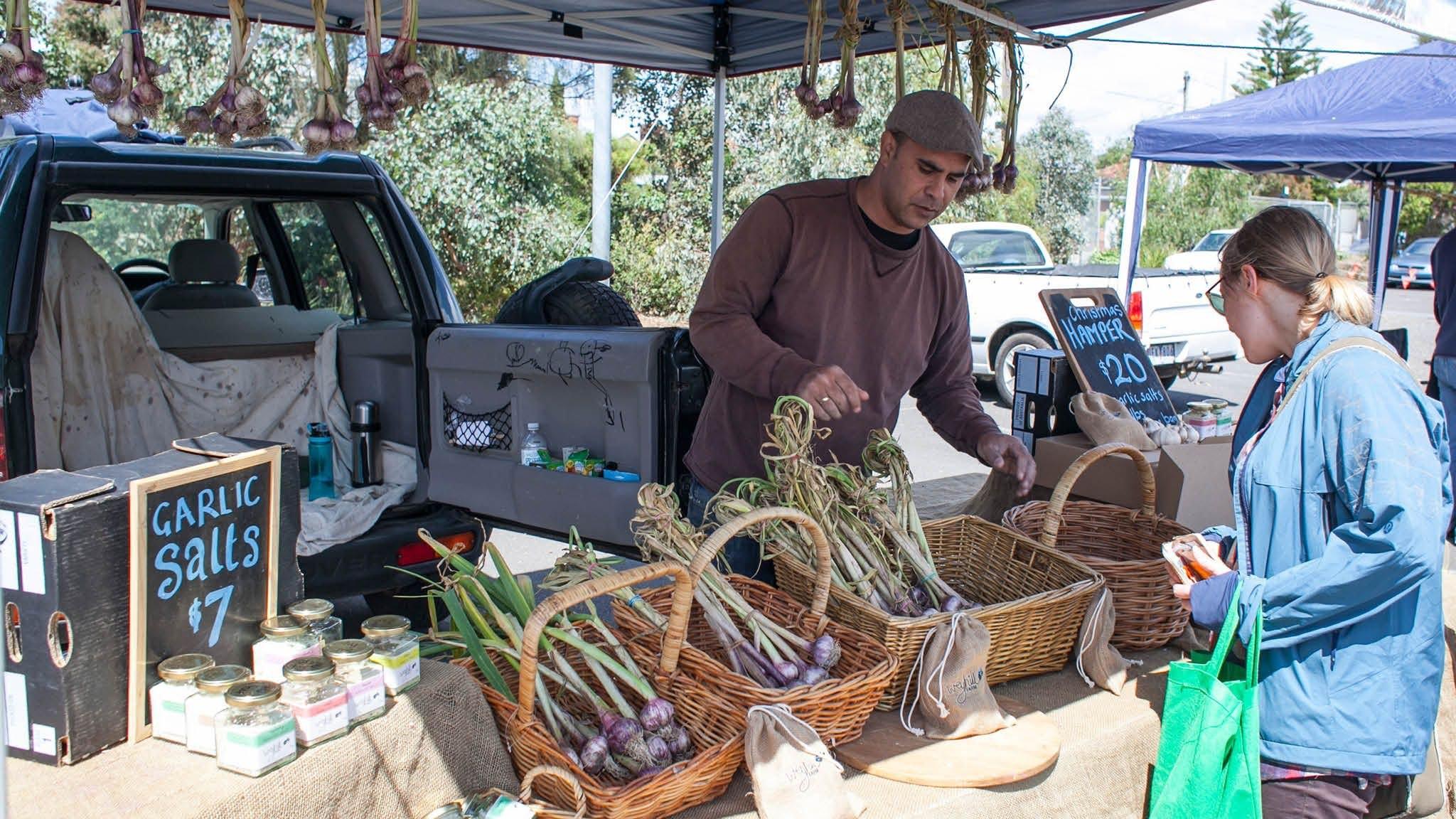 Local garlic at Coburg Farmers Markets