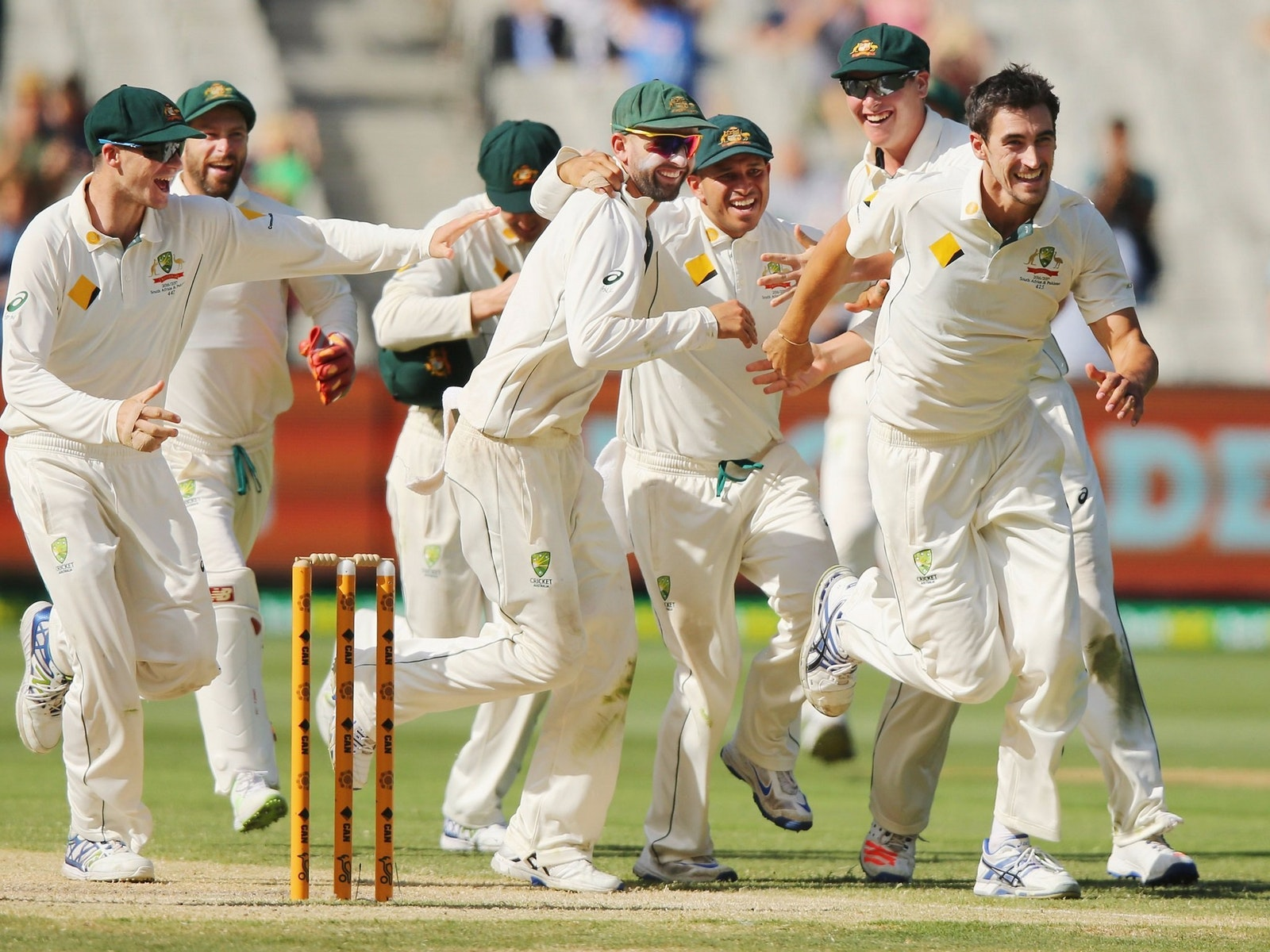 Australian Men's Test team celebrating a wicket,Getty Images/Cricket Australia, Michael Dodge