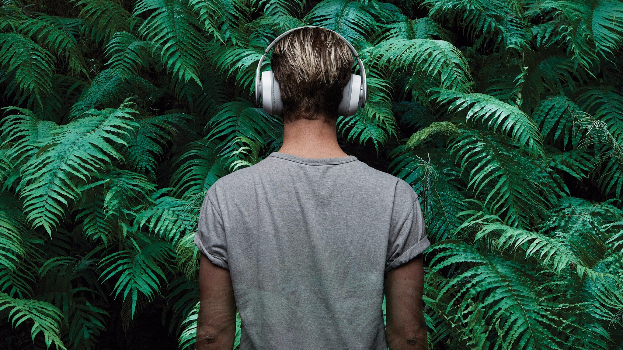 A man wearing headphones faces away from the camera. He looks out into a green jungle.