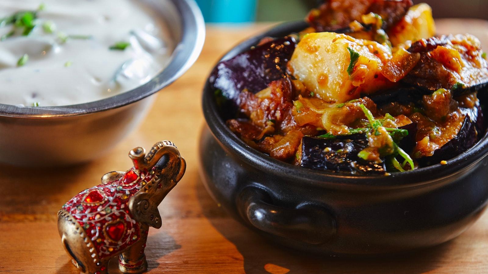 Aloo Baingan Eggplant Dish
