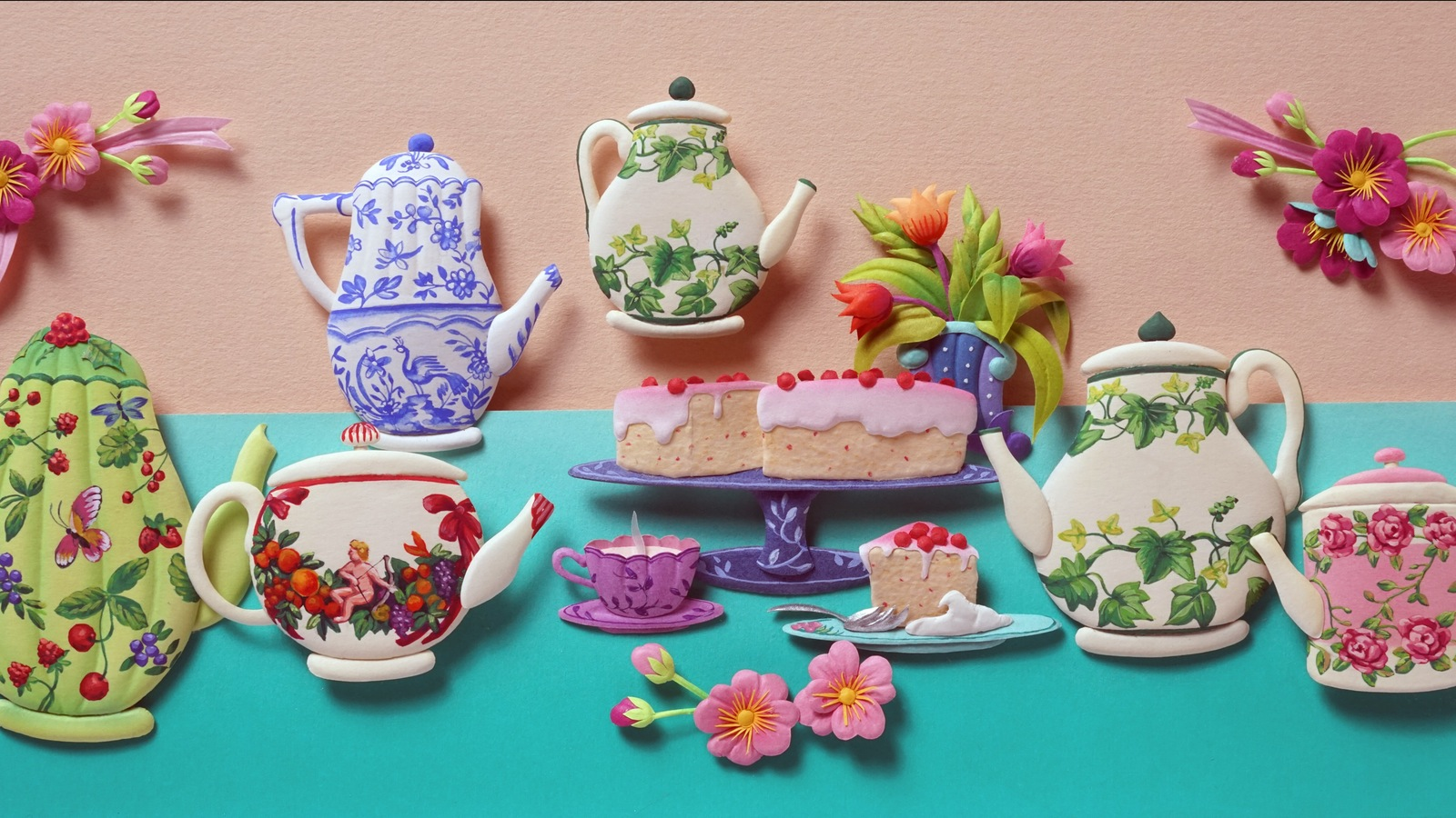 """""""Tea Party"""" is another public favourite.  20 x 11 cm.  Each kettle is minutely hand painted"""
