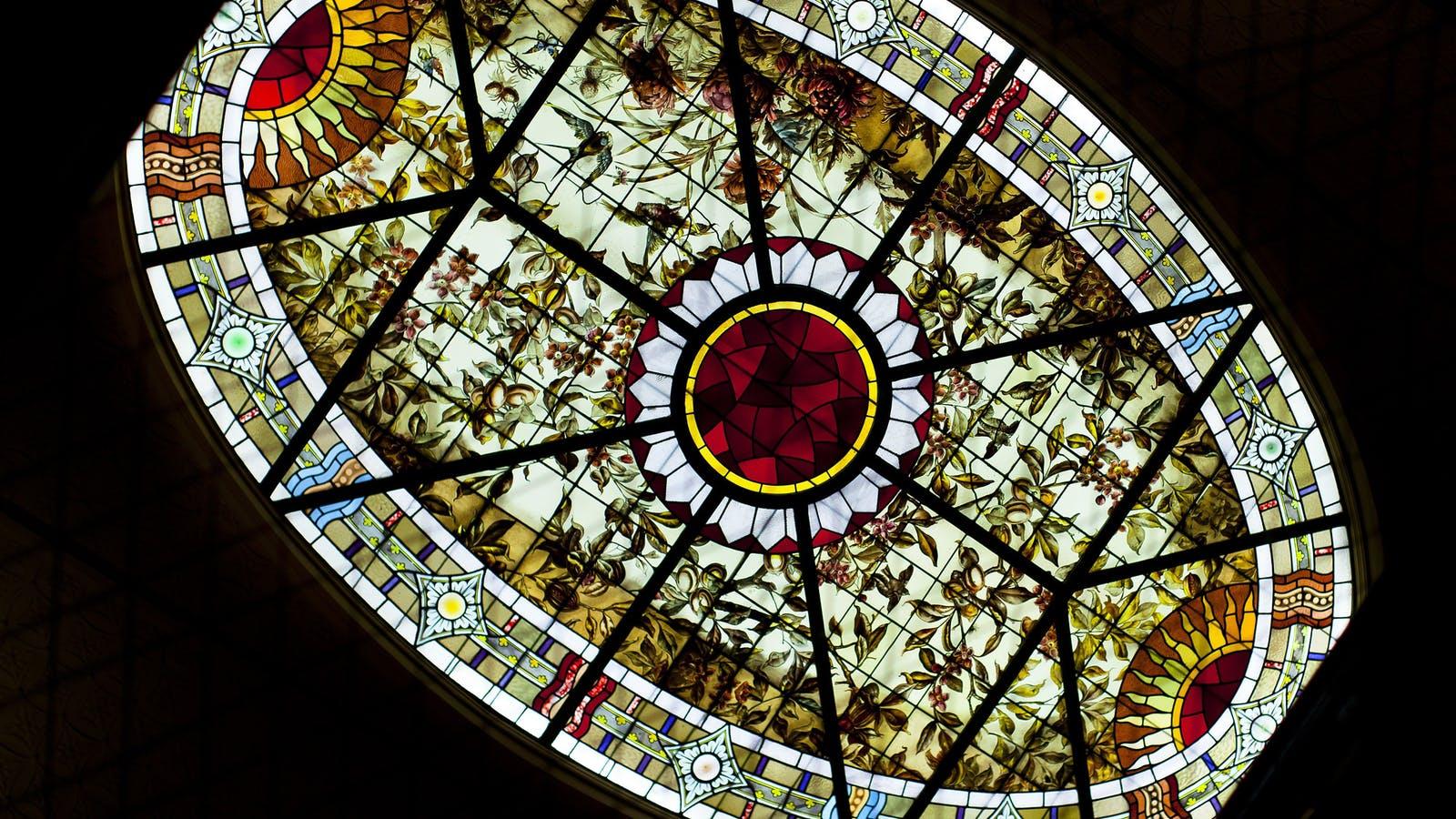 Stained glass at Bundoora Homestead