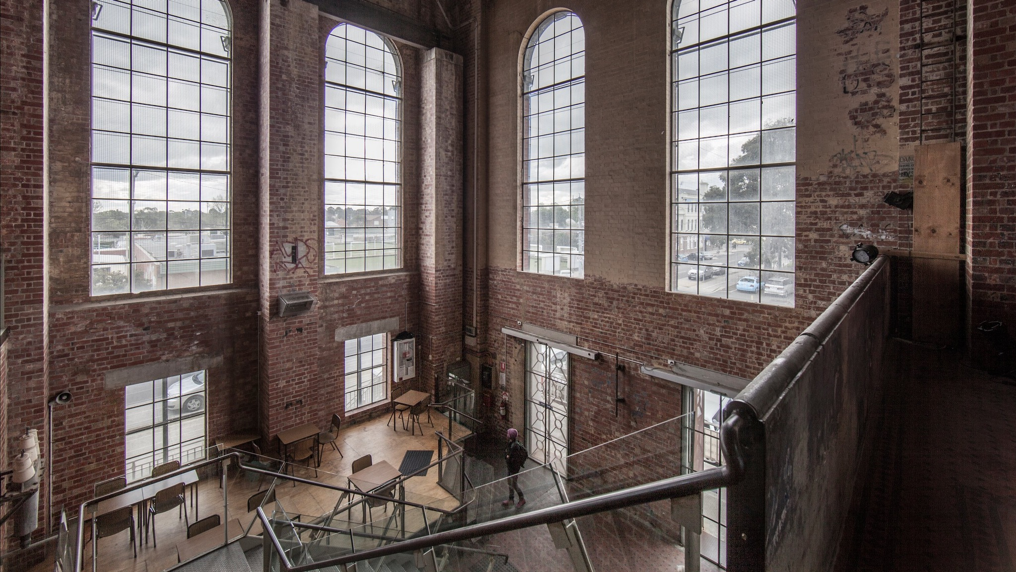 The Foyer of the SUBSTATION taken from the mezzanine large arch windows. Photo by Suzie Blake