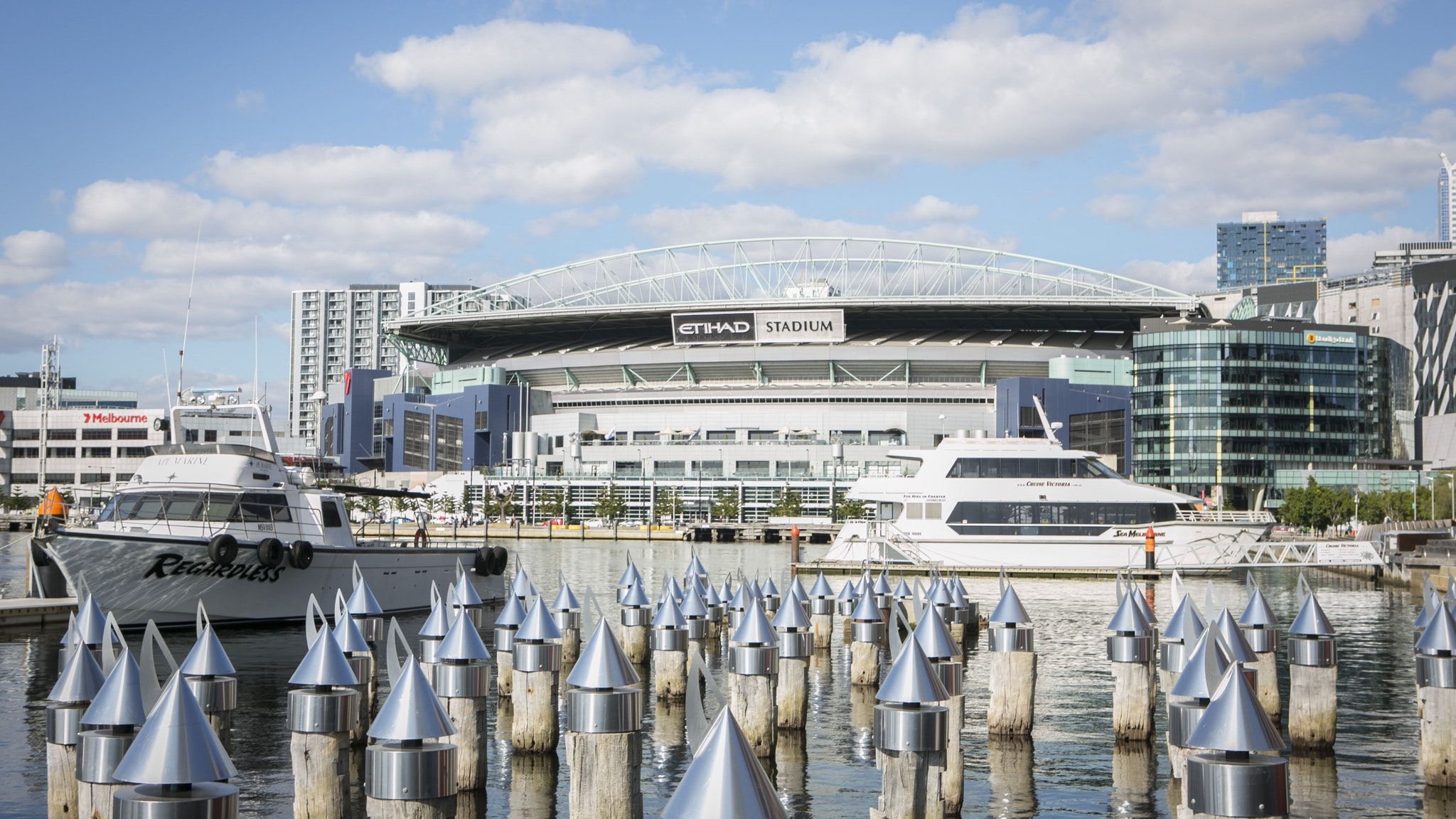 Etihad Stadium located in Docklands, Melbourne