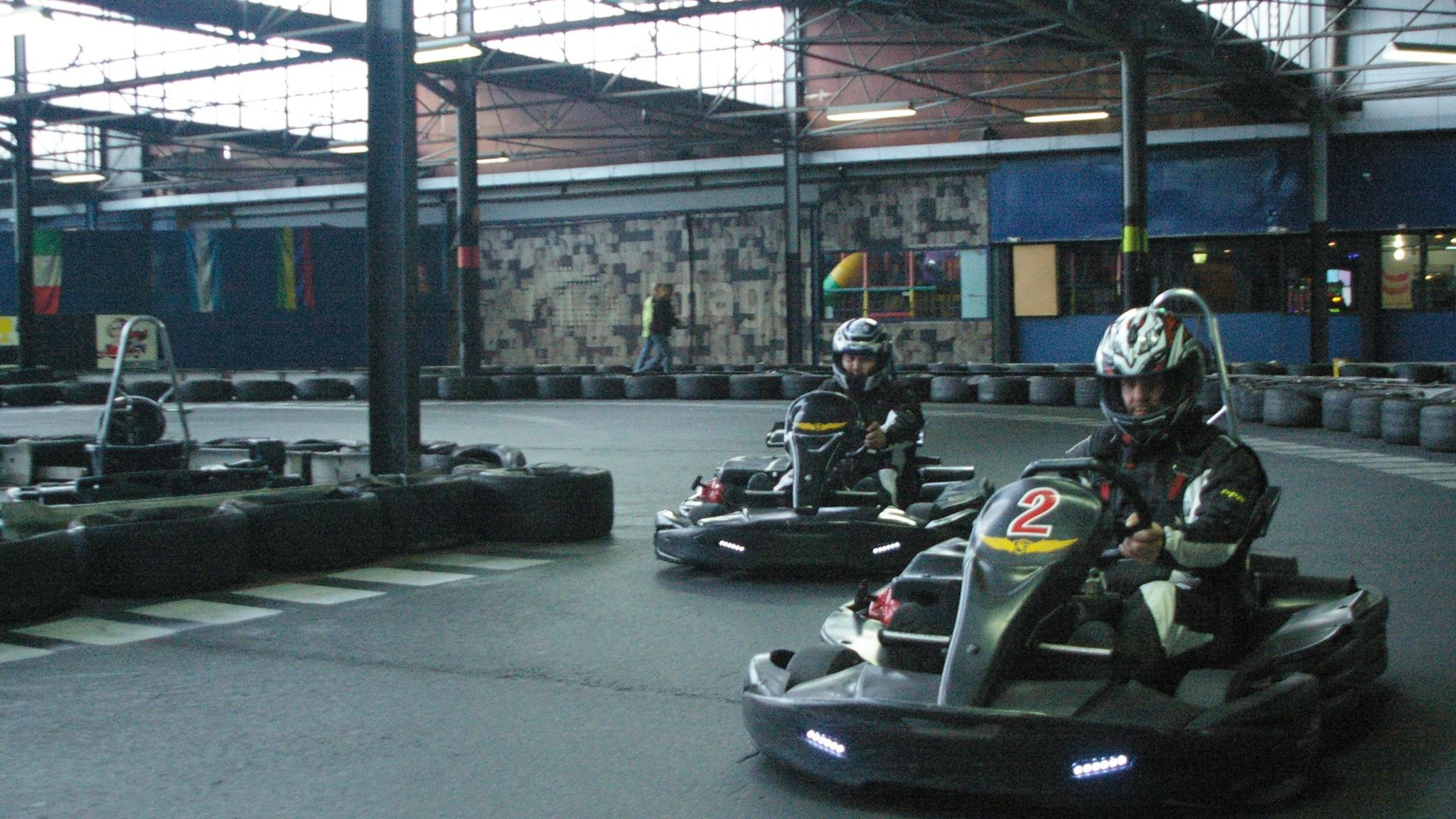 Go Kart Racing indoors, Huge indoor racetrack built for groups and families